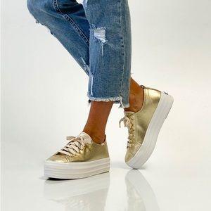 Ked's WONDER WOMAN Gold Canvas Platform Sneakers